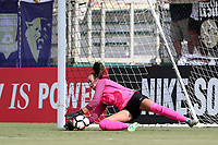 Cary, North Carolina  - Saturday July 01, 2017: Kailen Sheridan saves a penalty kick during a regular season National Women's Soccer League (NWSL) match between the North Carolina Courage and the Sky Blue FC at Sahlen's Stadium at WakeMed Soccer Park.