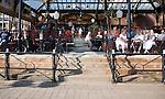 Seaside open air cafe terrace bar, Bridlington, Yorkshire, England