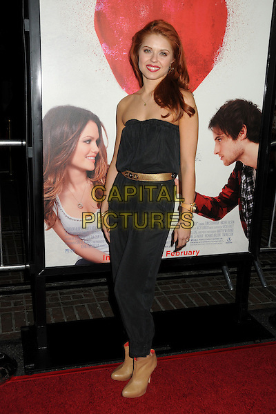 "ANNA TREBUNSKAYA .""Waiting For Forever"" Los Angeles Premiere held at Pacific Theatres at The Grove, Los Angeles, California, USA, .1st February 2011..full length strapless black gold belt waist brown tan ankle boots .CAP/ADM/BP.©Byron Purvis/AdMedia/Capital Pictures."