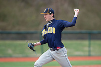 Toledo Rockets starting pitcher Steven Calhoun (41) in action against the Virginia Tech Hokies at The Ripken Experience on February 28, 2015 in Myrtle Beach, South Carolina.  The Hokies defeated the Rockets 1-0 in 10 innings.  (Brian Westerholt/Four Seam Images)
