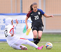 Monfalcone, Italy, April 26, 2016.<br /> USA's #20 Yates vs Iran's Motevalli during USA v Iran football match at Gradisca Tournament of Nations (women's tournament). Monfalcone's stadium.<br /> © ph Simone Ferraro / Isiphotos