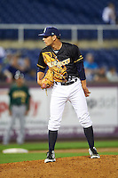Wilmington Blue Rocks relief pitcher Kyle Kubat (14) during a game against the Lynchburg Hillcats on June 3, 2016 at Judy Johnson Field at Daniel S. Frawley Stadium in Wilmington, Delaware.  Lynchburg defeated Wilmington 16-11 in ten innings.  (Mike Janes/Four Seam Images)