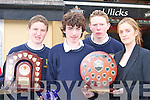 Pobalscoil Inbhear Sceine Kenmare students Tadgh Morley, Brian Clifford and Kieran O'Neill being presented with their trophies by Sinead Phillips Basketball Ireland at the South West School basketball awards in Ulicks bar Farranfore on Wednesday   Copyright Kerry's Eye 2008