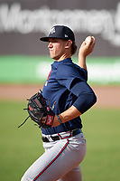 Mississippi Braves pitcher Patrick Weigel (18) during practice before a game against the Montgomery Biscuits on April 24, 2017 at Montgomery Riverwalk Stadium in Montgomery, Alabama.  Montgomery defeated Mississippi 3-2.  (Mike Janes/Four Seam Images)