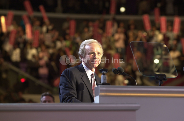 Los Angeles, CA - August 16, 2000 -- United States Senator Joseph Lieberman (Democrat of Connecticut) accepts the Democratic Nomination for Vice President at the 2000 Democratic National Convention in Los Angeles, California on Wednesday, August 16, 2000...Credit: Ron Sachs / CNP/MediaPunch
