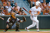 Texas Longhorn third baseman Erich Weiss #6 drives in a first inning run against the Arizona State Sun Devils  in NCAA Tournament Super Regional Game #3 on June 12, 2011 at Disch Falk Field in Austin, Texas. (Photo by Andrew Woolley / Four Seam Images)