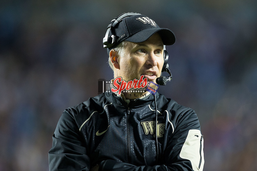Wake Forest Demon Deacons head coach Dave Clawson walks the sideline during first half action against the North Carolina Tar Heels at Keenan Stadium on October 17, 2015 in Chapel Hill, North Carolina.   (Brian Westerholt/Sports On Film)