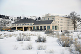 USA, Wyoming, Yellowstone National Park, the Mammoth Hot Springs Hotel and main lodge