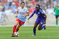 Bridgeview, IL - Saturday July 22, 2017: Taylor Comeau, Chioma Ubogagu during a regular season National Women's Soccer League (NWSL) match between the Chicago Red Stars and the Orlando Pride at Toyota Park. The Red Stars won 2-1.