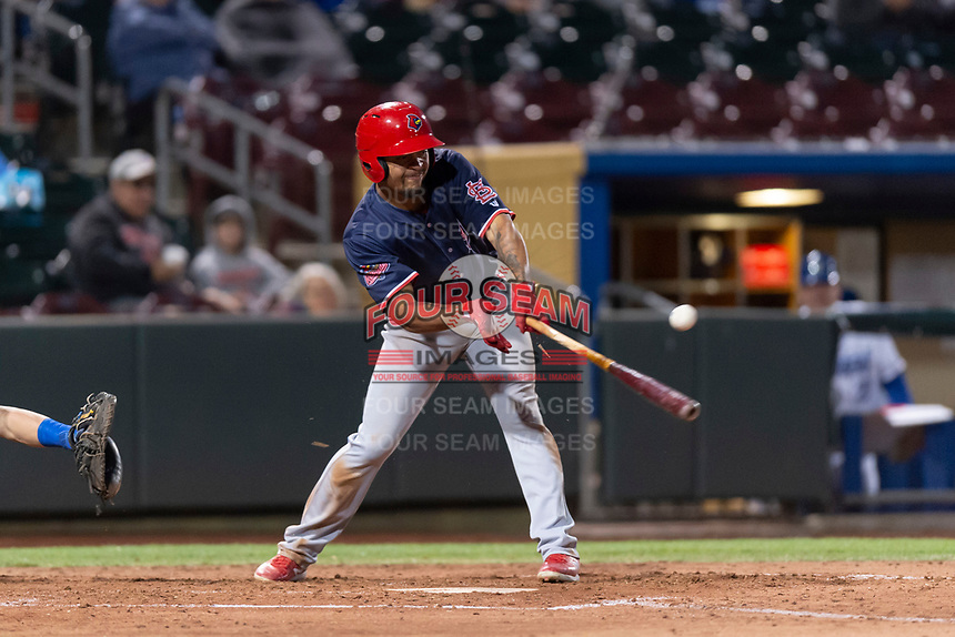Memphis Redbirds shortstop Edmundo Sosa (12) breaks his bat during a Pacific Coast League game against the Omaha Storm Chasers on April 26, 2019 at Werner Park in Omaha, Nebraska. Memphis defeated Omaha 7-3. (Zachary Lucy/Four Seam Images)