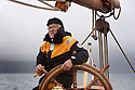 THE BESSIE ELLEN TRAVEL FEATURE.<br /> Retired builder, Arthur Winterburn, 74, takes the helm.<br /> Photo:Clare Kendall<br /> 19/05/2016.