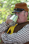A Civil War soldier drinking