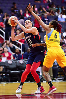 Washington, DC - June 15, 2018: Washington Mystics guard Elena Delle Donne (11) makes a strong move to the basket against Chicago Sky forward Alex Montgomery (6) during game between the Washington Mystics and Chicago Sky at the Capital One Arena in Washington, DC. (Photo by Phil Peters/Media Images International)