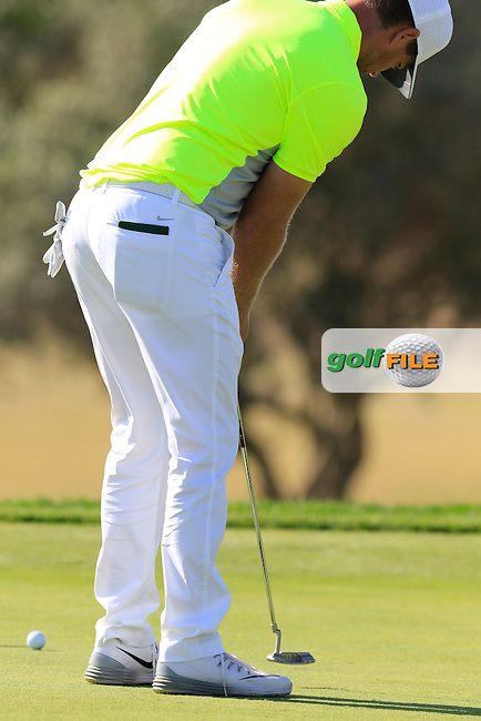 Lucas Bjerregaard (DEN) putts on the 9th green during Thursday's Round 1 of the 2016 Portugal Masters held at the Oceanico Victoria Golf Course, Vilamoura, Algarve, Portugal. 19th October 2016.<br /> Picture: Eoin Clarke | Golffile<br /> <br /> <br /> All photos usage must carry mandatory copyright credit (&copy; Golffile | Eoin Clarke)