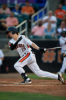 Aberdeen IronBirds Clay Fisher (19) bats during a NY-Penn League game against the Vermont Lake Monsters on August 19, 2019 at Leidos Field at Ripken Stadium in Aberdeen, Maryland.  Aberdeen defeated Vermont 6-2.  (Mike Janes/Four Seam Images)