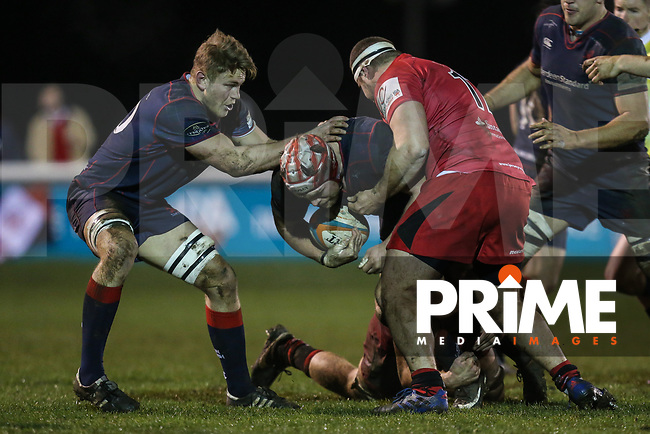 Danny Kenny of London Scottish in possession during the Greene King IPA Championship match between London Scottish Football Club and Jersey Reds at Richmond Athletic Ground, Richmond, United Kingdom on 16 March 2018. Photo by David Horn.