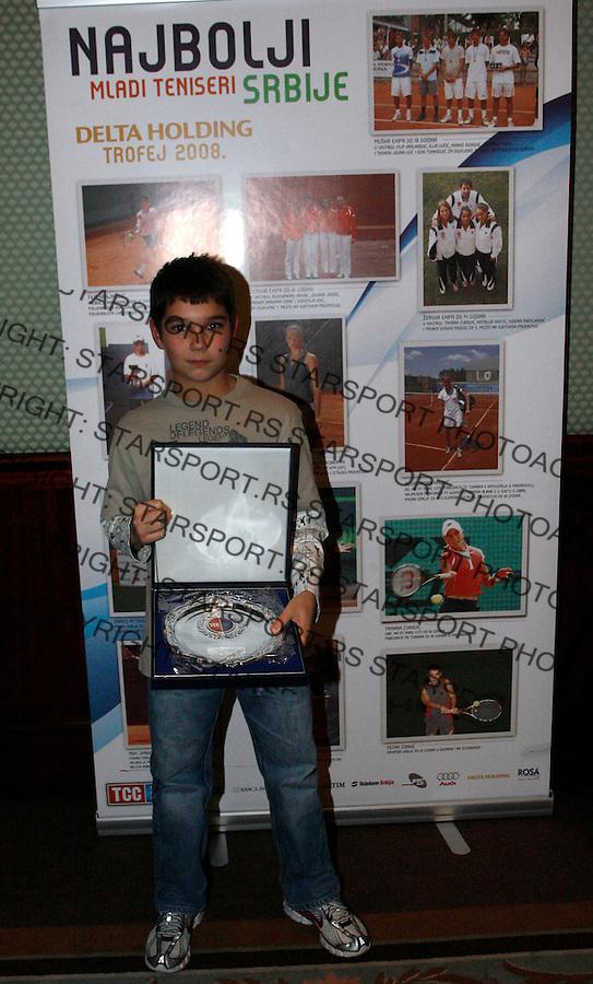Tenis, Teniski Savez Srbije .Dodela nagrada najboljim juniorima Srbije .Petar Conkic.Beograd, 22.12.2008. .Photo: Srdjan Stevanovic
