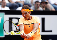 Lo spagnolo Rafael Nadal in azione nel corso degli Internazionali d'Italia di tennis a Roma, 12 maggio 2016.<br /> Spain's Rafael Nadal returns the ball to Australia's Nick Kyrgios at the Italian Open tennis tournament in Rome, 12 May 2016.<br /> UPDATE IMAGES PRESS/Isabella Bonotto
