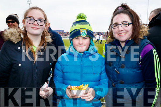Emer Redmond, Emma Fenix and Holly O'Donnell, Kerry fans pictured at the Allianz Football League Kerry v Galway, at Austin Park, Tralee, on Sunday last.