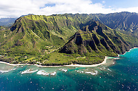 An aerial view of the north shore of Kaua'i