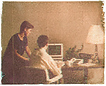 Scan from vintage print. Gum bichromate print. Bank office with computer and window blind. 1990's. 1/1