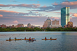 Kayaking at sunset on the Charles River, Boston, MA, USA