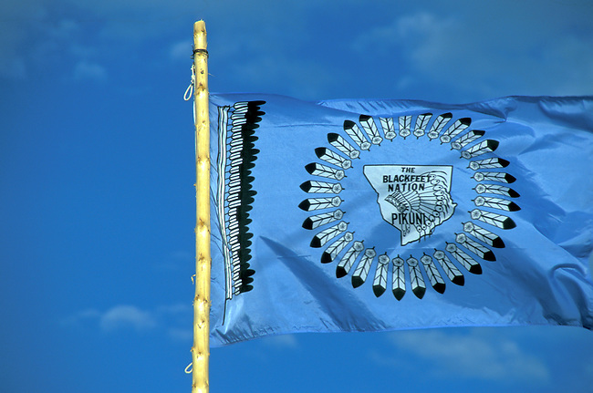 The Blackfeet Nation Pikuni flag of an eaglestaff and a circle made of eagle feathers on a sky blue background