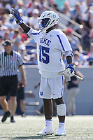 Annapolis, MD - May 20, 2018: Duke Blue Devils Nakeie Montgomery (15) calls a play during the quarterfinal game between Duke vs John Hopkins at  Navy-Marine Corps Memorial Stadium in Annapolis, MD.   (Photo by Elliott Brown/Media Images International)