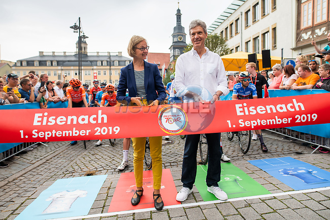 Ready to start Stage 4 of the Deutschland Tour 2019, running 159.5km from Eisenach to Erfurt, Germany. 1st September 2019.<br /> Picture: ASO/Marcel Hilger | Cyclefile<br /> All photos usage must carry mandatory copyright credit (© Cyclefile | ASO/Marcel Hilger)