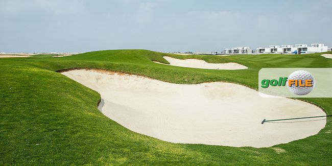 View of the left-side bunkers on the 1st fairway at Al Zorah Golf Club, Dubai, United Arab Emirates.  26/01/2016. Picture: Golffile | David Lloyd<br /> <br /> All photos usage must carry mandatory copyright credit (&copy; Golffile | David Lloyd)