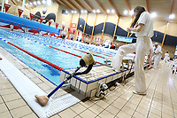Picture by Richard Blaxall/SWpix.com - 14/04/2018 - Swimming - EFDS National Junior Para Swimming Champs - The Quays, Southampton, England - A prosthetic is left on the side of the pool during a race