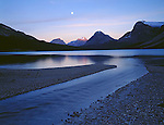 Banff National Park, Alberta, Canada    <br /> Moonrise over Bow Lake and Bow Peak reflections
