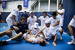 24 MAY 2016:  Virginia's Henrik Wiersholm  and his teammates celebrates closing out singles play securing the Virginia national championship. The Division I Men's Tennis Championship is held at the Michael D. Case Tennis Center on the University of Tulsa campus in Tulsa, OK.  Virginia defeated Oklahoma for the national championship. Shane Bevel/NCAA Photos