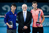 GRIGOR DIMITROV (BUL), KEI NISHIKORI (JPN), ROY EMERSON<br /> <br /> BRISBANE INTERNATIONAL, PAT RAFTER ARENA, BRISBANE TENNIS CENTRE, BRISBANE, QUEENSLAND, AUSTRALIA, ATP, WTA, Hard Court, Outside, Men's tennis, Women's tennis, Men's singles, women's singles, men's doubles, women's doubles.<br /> <br /> &copy; TENNIS PHOTO NETWORK