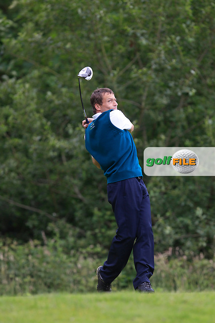Peter O'Connell (Lee Valley) on the 12th tee during the Semi-Finals of the Munster Bruen &amp; Shield Finals at East Clare Golf Club on Sunday 19th July 2015.<br /> Picture:  Golffile | Thos Caffrey All photo usage must carry mandatory copyright credit (&copy; Golffile | Thos Caffrey)