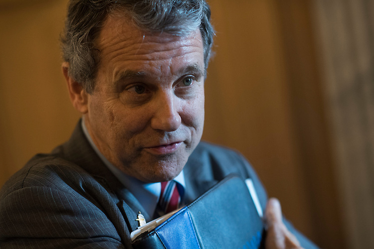 UNITED STATES - FEBRUARY 28: Sen. Sherrod Brown, D-Ohio, talks with reporters before the Senate Policy luncheons in the Capitol, February 28, 2017. (Photo By Tom Williams/CQ Roll Call)