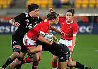 Julianne Zussman is tackled during the 2017 International Women's Rugby Series rugby match between the NZ Black Ferns and Canada at Westpac Stadium in Wellington, New Zealand on Friday, 9 June 2017. Photo: Dave Lintott / lintottphoto.co.nz