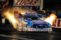 Oct. 31, 2008; Las Vegas, NV, USA: NHRA funny car driver Robert Hight during qualifying for the Las Vegas Nationals at The Strip in Las Vegas. Mandatory Credit: Mark J. Rebilas-