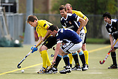 Scottish Hockey Subway National League Div 1A, at Titwood, Glasgow, on Saturday - Kelburne HC (in yellow) displayed their dominance of the National Leagues with a 9-1 demolition of Clydesdale HC - pic shows Kelburne's David Forsyth guarding the ball as Clydesdale players press to try to stop the Kelburne flow - Picture by Donald MacLeod 24.04.10 - mobile 07702 319 738
