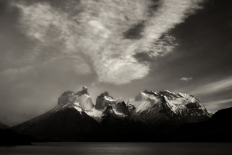 Paine Massif mountains and Pehoe Lago (Lake) at sunrise . Torres del Paine National Park, Chile, Patagonia