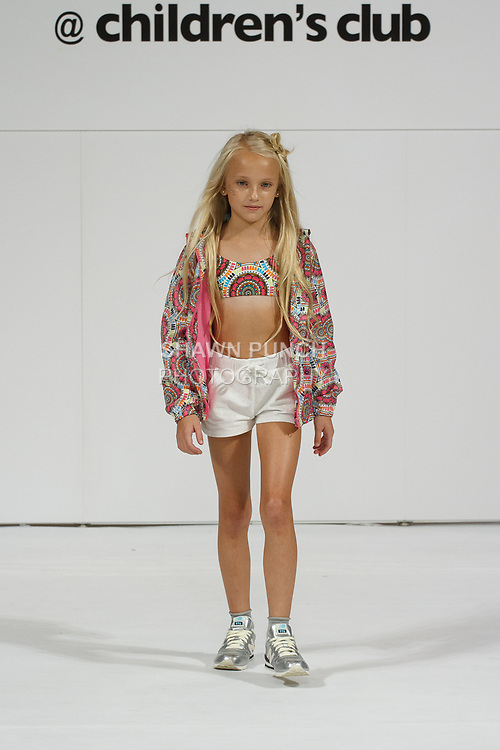 Model walks runway in an outfit from the Diesel Kids Spring 2018 collection, for the petitePARADE Spring Summer 2018 fashion show with Children's Club, at Javits Center in New York City, on August 7, 2017. Model walks runway in an outfit from the Losan Spring 2018 collection, for the petitePARADE Spring Summer 2018 fashion show with Children's Club, at Javits Center in New York City, on August 7, 2017.