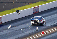 Sep 2, 2016; Clermont, IN, USA; NHRA pro mod driver Khalid Albalooshi blows a hood scoop off his car during qualifying for the US Nationals at Lucas Oil Raceway. Mandatory Credit: Mark J. Rebilas-USA TODAY Sports