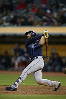 OAKLAND, CA - JULY 17:  Evan Longoria #3 of the Tampa Bay Rays hits a home run against the Oakland Athletics during the game at the Oakland Coliseum on Monday, July 17, 2017 in Oakland, California. (Photo by Brad Mangin)