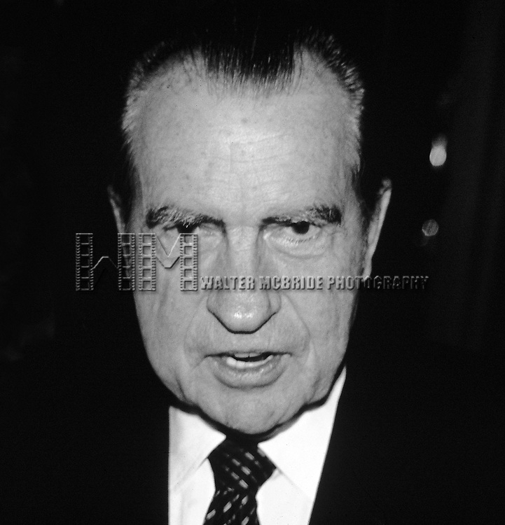 Richard Nixon leaving the 21 club in New York City in May of 1982.