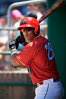 Batavia Muckdogs designated hitter Igor Baez (29) during a game against the State College Spikes on July 8, 2018 at Dwyer Stadium in Batavia, New York.  Batavia defeated State College 8-3.  (Mike Janes/Four Seam Images)