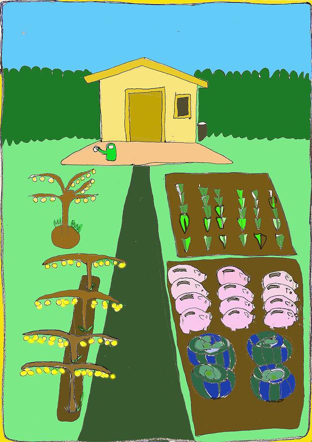Driebergen, 16  febr  2009.illustratie, tekening met computer inkleuring met de crisis als thema..volkstuin met spaarvarkens in bed, geldboompjes in rij.. Foto: (c) Renee Teunis