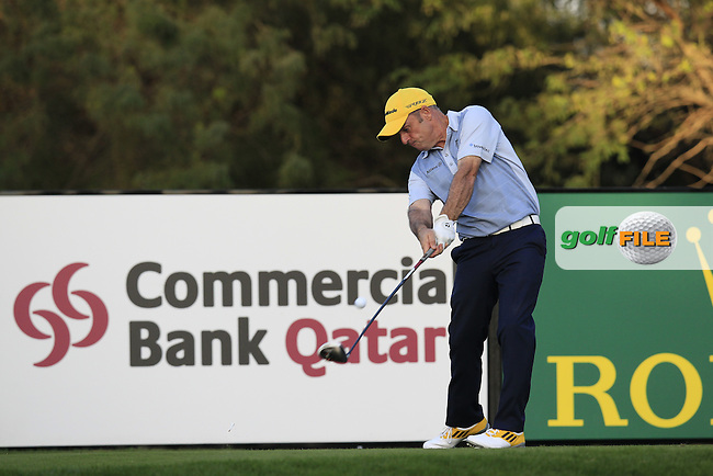 Paul McGinley (IRL) tees off the 18th tee during Wednesday's Round 1 of the Commercial Bank Qatar Masters 2013 at Doha Golf Club, Doha, Qatar 23rd January 2013 .Photo Eoin Clarke/www.golffile.ie
