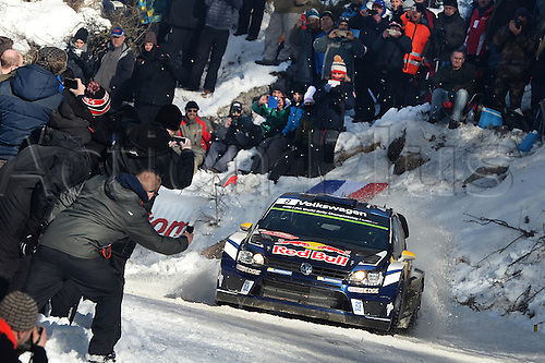 21.01.2016. Monte Carlo, Monaco. The Monte Carlo Rally 2016. The cars takes to the course.   Andreas Mikkelsen (NOR)and Jaeger Synnevag(NOR)-Volkswagen Polo WRC