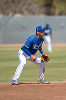 Kansas City Royals shortstop Cristian Perez (11) during a Minor League Spring Training game against the Milwaukee Brewers at Maryvale Baseball Park on March 25, 2018 in Phoenix, Arizona. (Zachary Lucy/Four Seam Images)