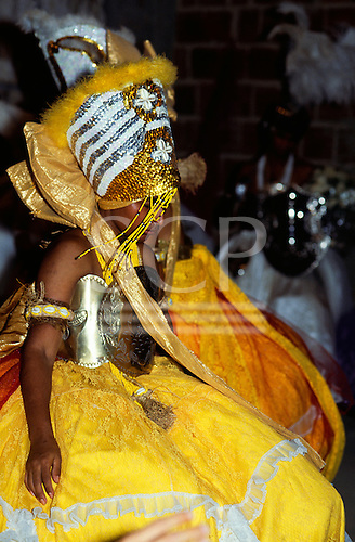 Recife, Brazil. Young follower of Candomble posessed by and dressed to represent Oxum, a Candomble god.